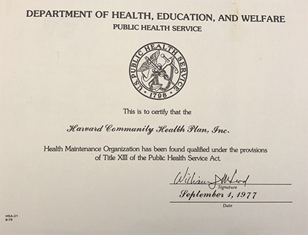Certificate by the department of health, education, and welfare